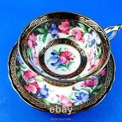 Stunning Sweet Pea and Black and Gold Border Paragon Tea Cup and Saucer Set
