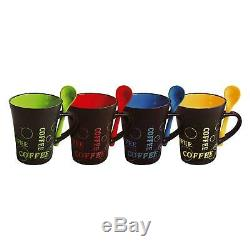 Stylish Coffee Mugs & Spoons Set Of 4 Ceramic Cups Hot Drink Tea Latte Chocolate