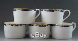 Swid Powell'Swag' Pattern Set of 5 Flat Coffee or Tea Cups Blue & White