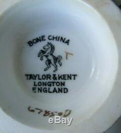 Taylor & Kent White Rose On Black Wide Tea Cup & Saucer Set 6785 Longton England
