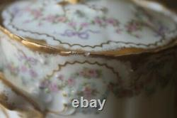 Theodore Haviland Limoges France 330 Cream Sugar for tea cup set Rose Wreath Bow