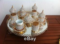 Turkish Arabic Coffee Water Tea Cup Jardiniere Tray Made with Swarovski Set GOLD