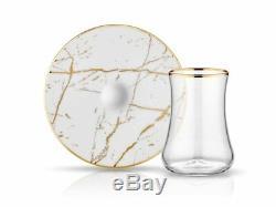 Turkish tea cup tile ceramic white marble Set 6 in Premium collection