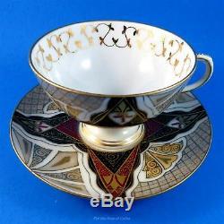 Unusual Design Pedestal Austria Alhambra Tea Cup and Saucer Set