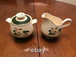 VINTAGE Homer Laughlin JADE ROSE china set 83 pieces plates tea cups sugar bowl