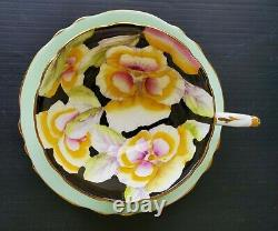 VINTAGE PARAGON Pansy on Black with Green Surrounding Teacup and Saucer Set