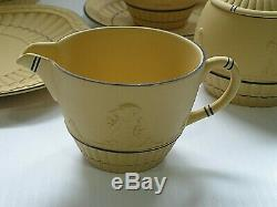 VINTAGE Wedgwood YELLOW CANE ON BLACK Japerware TEA SET Pot Cup Sugar Creamer +