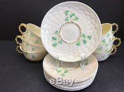 VTG 9 Sets Shamrock Belleek Tea Cup and Saucers Irish Porcelain China 5th Mark