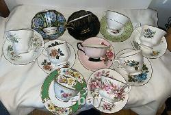 VTG Lot 10 SETS FINE BONE CHINA TEA CUPS SAUCERS ENGLAND Royal Albert, Paragon
