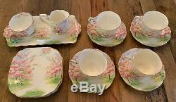 VTG Royal Albert BLOSSOM TIME 4 Person Tea Set with Cup Cream Sugar Tray Plate