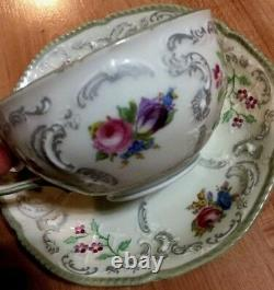 VTG Tea Set 1940s ROSENTHAL Selb Germany Sanssouci 6 Tea Cups 8 Saucers Floral
