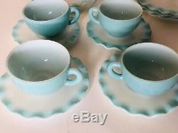 VTG Turquoise Hazel Atlas 17 Piece Set Crinoline Plates Ripple Bowls Tea Cups