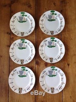 V. Rare 6 Colclough China Sabu Pattern Tea Set Trios Cup Saucer & Side Plate
