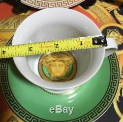 Versace Rosenthal Cup Saucer Tea Coffee Set Medusa Green New In Box $300