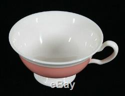 Very Rare! Art Deco Lenox China 5 Step Coral & White Tea Cup & Saucer Set Mint