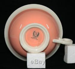 Very Rare! Art Deco Lenox China 5 Step Coral & White Tea Cup & Saucer Set Mint