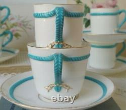 Victorian Turquoise Tea Cup & Saucer set Rope Handle Minton Brown Westhead Moore