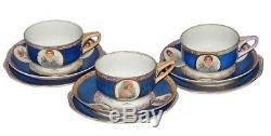 Vintage 1920 Tea Cup Sets 3 Original Soviet Russian Imperial Porcelain Kuznetsov