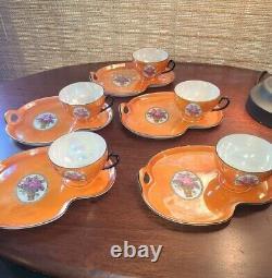 Vintage 1920s Czechoslovakia Lusterware 5 set Orange Luster Tea Cup snack trays