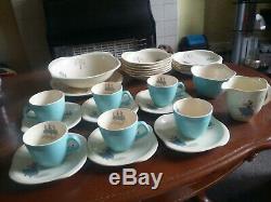 Vintage 1950 Beswick Ballet Tea Cups Set 6 Blue Teacups Saucers Plates Bowls Jug