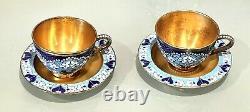 Vintage 1960 Russian Sterling Silver 916 Enamel Cup Plate Gold Wash Tea Set