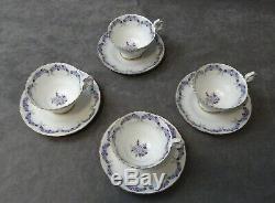 Vintage ARABIA China FINLAND Tuhkimo TEA CUP & SAUCERS Set of 4 PURPLE FLOWERS