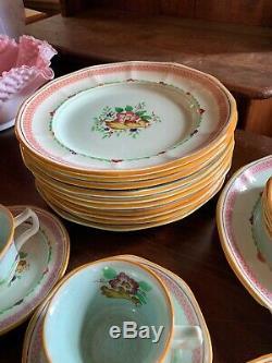 Vintage Antique Calyx Ware Set Carolynn Hand Painted Dinner Plates Tea Cups