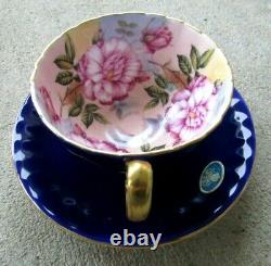 Vintage Aynsley Cobalt Blue Cabbage Rose Teacup and Saucer Set Gold Rimmed