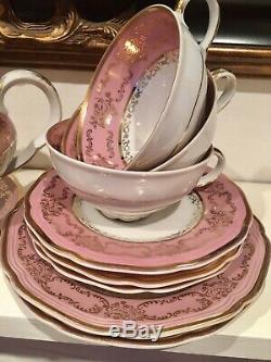 Vintage Bavaria Pink Gold Tea Set Tea Cups Trios Teapot Sugar Bowl 20 Items