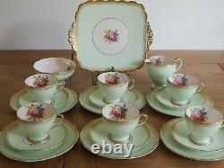 Vintage Bone China Foley Green Pastel Tea Set 6 Cup Trio Floral Design 21pcs