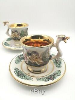 Vintage Capodimonte Set Of Demitasse/teacup With Saucers Sugar Bowl-server Tray