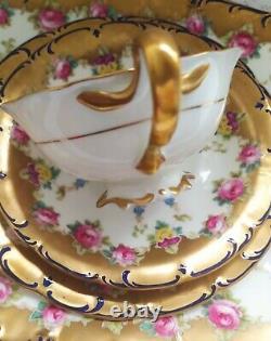 Vintage Cauldon Brown Westhead Moore Tea Cup Trio Set. Floral & Gold- Pretty