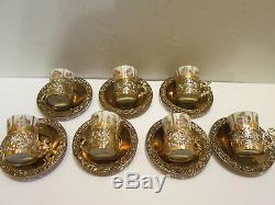 Vintage Demitasse Tea Cup Set of 6 Arnart Angel Filigree Gold Metal Holder