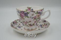 Vintage Fine Bone China Rose Floral Gold Rim Tea Set Teapot Cup Sugar Cream Pot