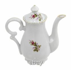Vintage Fine China Tea Set in Rose Pattern Includes 5 Tea Cups and Saucers