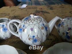 Vintage LFZ Lomonosov Ussr Porcelain Tea Set Pot Cups