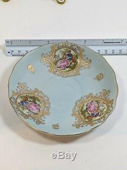 Vintage Lefton Teacup & Saucer Set Blue Gold Trim Footed Small Slender #1356