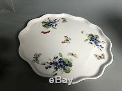 Vintage Limoges Butterfly Cup Pot de Creme 7 Pc Set Serving Tray Tea Cups Lids