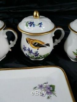 Vintage Limoges France Pot de Creme 7 Piece Set Serving Tray, Tea Cups, & Lids