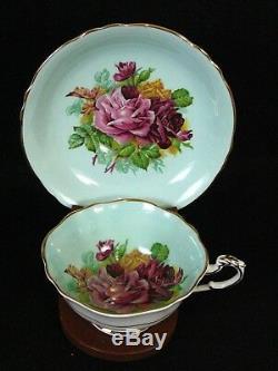 Vintage PARAGON Tea Cup & Saucer Set-# A2171 Pink Rose Pattern on Green Base