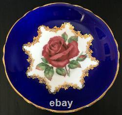 Vintage Paragon Cobalt Blue With Large Pink Floating Rose Tea Cup And Saucer Set