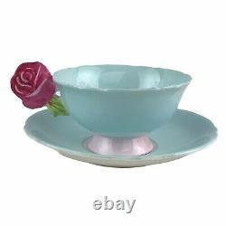 Vintage Paragon England Figural Rose Handle Teacup & Saucer Set Aqua Pink Rare