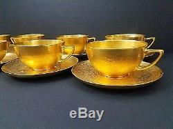 Vintage Rosenthal Bavaria Gold Encrusted Tea Cups Saucers 8 Set Hand Painted