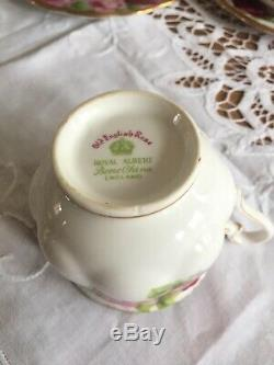 Vintage Royal Albert Porcelain Old English Rose Set of 6 Tea Cup Trios 18pcs