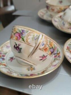Vintage Schumann Bavaria Dresden Empress Tea Cups & Saucers Flowers 7 SET