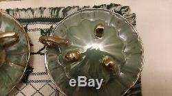 Vintage Seafoam Green And Gold Lusterware Tea Cup And Saucer Set of 6