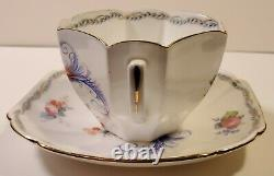 Vintage Shelley China Queen Anne Birds of Paradise Teacup and Saucer Set RARE