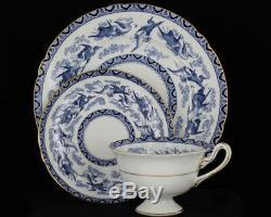 Vintage Shelly Fine Bone China Blue Heron/Storks Pattern Teacup Saucer Plate Set