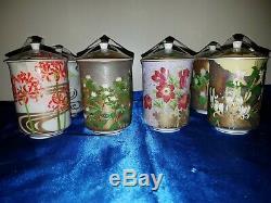 Vintage Teetasse mit Deckel Tee-Set Japan Teacup and Lid Japanese Flowers 12 St