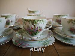 Vintage Windsor Porcelain Tea Set 6 Tea Cup Trios Tulips Flowers 19 Pieces